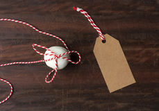 Pfeffernusse with string, being prepared as a christmas gift Stock Image