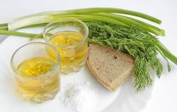 Pfefferwodka in zwei transparenten Gläsern, in den Frühlingszwiebeln, im Dill, im Roggenbrot und im groben Salz - Stillleben stockbild