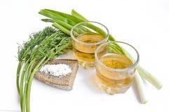 Pfefferwodka in zwei transparenten Gläsern, in den Frühlingszwiebeln, im Dill, im Roggenbrot und im groben Salz - Stillleben stockfotos