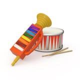 Pfeife, Trommel und zwei Trommelstock 3D Lizenzfreie Stockbilder