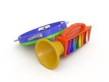 Pfeife und Tamburin, 3D Lizenzfreie Stockfotografie