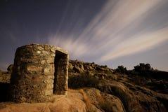 Pfeifen Sie Hütten des Bürgerkrieges nahe Bustarviejo, Madrid, Spanien aus Stockfoto