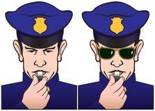 Pfeifender Polizist Lizenzfreies Stockfoto