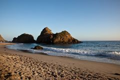 Pfeiffer Beach. In Big Sur is an incredibly scenic beach Royalty Free Stock Photo