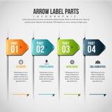 Pfeil-Aufkleber zerteilt Infographic Lizenzfreies Stockbild