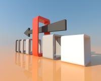 Pfeil 3D ist zum rechten Weg und in das rechte occasio stoßend Lizenzfreie Stockfotografie