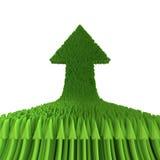 Pfeil des Grüns 3d lokalisiert auf weißem Hintergrund Lizenzfreie Stockbilder