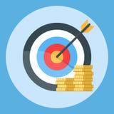 Pfeil ist genau am Ziel Ein Bündel Goldmünzen Illustration auf einem Farbhintergrund Lizenzfreie Stockfotos