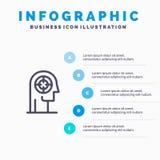 Pfeil, Konzentration, Fokus, Kopf, menschliche Linie Ikone mit Hintergrund infographics Darstellung mit 5 Schritten lizenzfreie abbildung