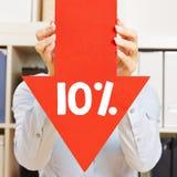 Pfeil mit 10% Rabatt Stockfotografie