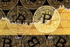 Pfeil-Preisrekordhochs Bitcoin-Währung steigende mit goldenem bitcoin Markt analysieren Lizenzfreie Stockfotografie