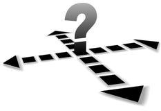 Pfeil-Punkt im vier Richtungs-Fragezeichen Stockfotos