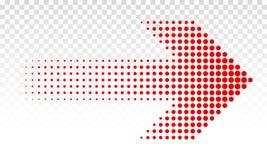 Pfeil punktiertes Vektor-Rotzeichen der richtigen Richtung stock abbildung