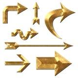 Pfeil-Sammlungs-Goldmetall Stockbild