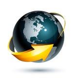 Pfeil um Planeten-Erde Lizenzfreies Stockfoto