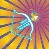 Pfeil und Bogen in den Flammen Postkarte für Feiertag in Indien Glückliches Dussehra Lizenzfreies Stockfoto