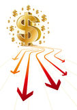 Pfeil und Dollar lizenzfreie abbildung