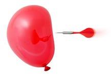 Pfeil ungefähr, zum des roten Ballons zu schlagen Stockbild