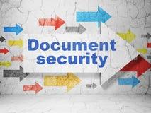 Pfeil whis Dokumenten-Sicherheit auf Schmutzwand Stockbilder