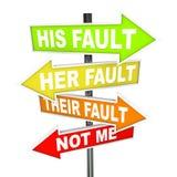 Pfeil-Zeichen - nicht meine Störungs-Verschiebung-Schuld Lizenzfreies Stockfoto