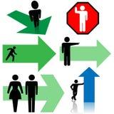 Pfeil-Zeichen-Symbol-Set-Leute-Punkt-Richtungen Stockfotos