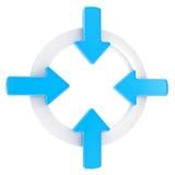 Pfeilaufmerksamkeits-Symbolabzeichen getrennt Stockfotos
