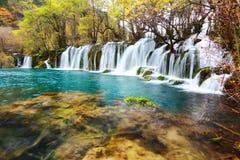 Pfeilbambuswasserfall jiuzhaigou szenisch stockbild