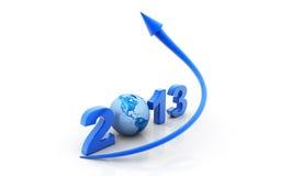 Pfeildiagramm, das über Zeichen 2013 hochschiebt Stockfotografie