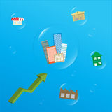 Pfeildiagramm, das Immobilien erhöht Lizenzfreies Stockfoto