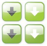 Pfeildownloadgrün-Tastenikone Stockbild