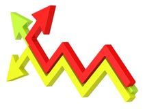Pfeile der Ikone 3d, die in verschiedene Richtungen sich bewegen Lizenzfreies Stockfoto