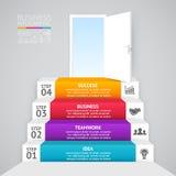 Pfeile des Vektors 3d infographic Schablone für Diagramm, Diagramm, Darstellung und Diagramm Firmenneugründungskonzept mit 4 Lizenzfreie Stockfotos