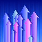 Pfeile, die herauf blauen Hintergrund der Farbe3d fliegen Stockfoto