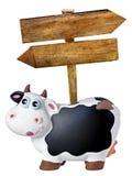 Pfeile, die hölzernes Blabk Piggybank unterzeichnet, lokalisierten Stockfoto