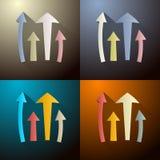Pfeile eingestellt auf vier verschiedene dunkle Hintergründe Stockbilder