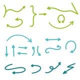 Pfeile eingestellt Handgezogene Pfeil-Sammlungs-Vektor-Illustration Moderne von Hand gezeichnete Pfeile in den grün-blauen Farben stock abbildung
