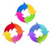Pfeile im Kreis in 3 Farbsätzen Lizenzfreies Stockfoto