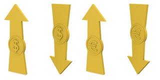 Pfeile mit Euro und Dollar Lizenzfreies Stockfoto