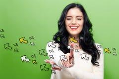 Pfeile mit junger Frau Lizenzfreies Stockfoto