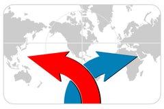 Pfeile mit Weltkarte Stockbild