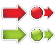 Pfeile und Tasten rot und grünes Zeichen Stockbild