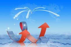 Pfeile und Weltkarte Lizenzfreie Stockfotos