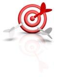 Pfeile und Ziel getrennt auf Weiß Lizenzfreie Stockfotografie