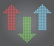 Pfeile unterzeichnen des Rotes, Grüner und Blauer Farbe der Ikone, Stockfoto
