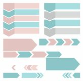 Pfeile, Vertikale, horizontal, Text, Piktogramme, gefärbt, Ebene Lizenzfreie Stockfotos