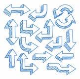 Pfeile, von Hand gezeichnet, Tiefenlinie, brütend, Blau, weißer Hintergrund aus Stockbild