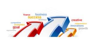 Pfeilentwurf mit Geschäftswörtern Stockbild