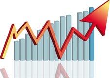 Pfeilgeschäftsdiagramm GLAS-Effekt Lizenzfreies Stockbild