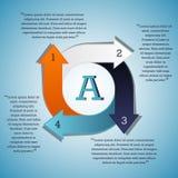 Pfeiloptionen im Kreis - blau, weiß, orange, eins, zwei, drei, vier Stockfotos