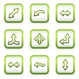 Pfeilweb-Ikonen stellten 2, quadratische Tasten ein Lizenzfreie Stockfotos